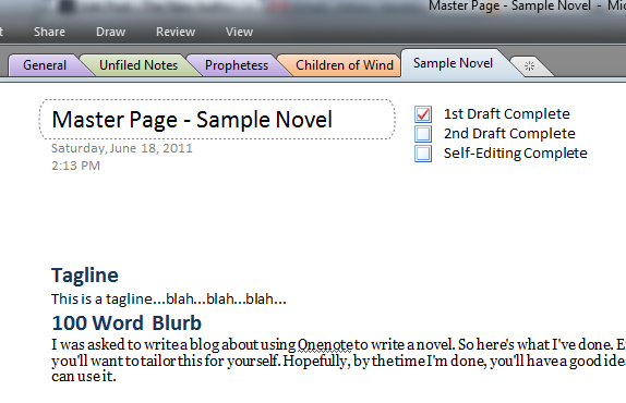 How to use Onenote to write a novel. (2/6)