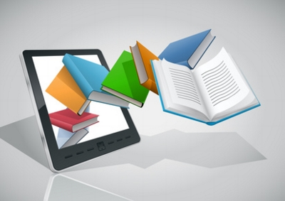 E-book reader and variety of books