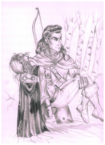 A Scene from Curse Bearer of the elf healer Culduin and the protagonist Danae, which I have worked up as part of the art package I am sending to my Kickstarter backers