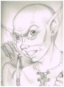 Mizzletorp, the oddball forest gnome, also rendered by Rebecca O Minor, while wearing her artist's hat