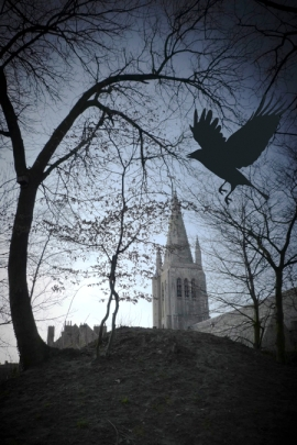 spooky church raven horror