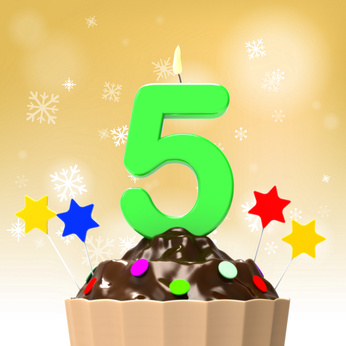 Five Candle On Cupcake for Anniversary